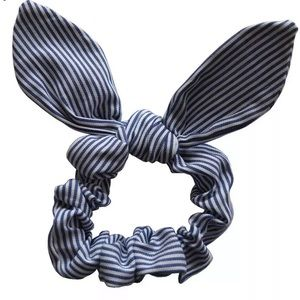 Blue and white striped rabbit ear scrunchie